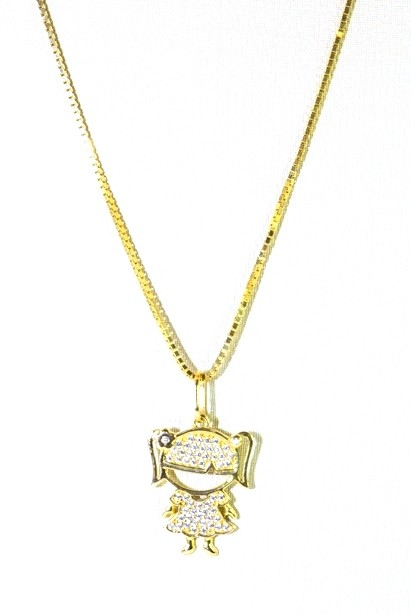 d9bc446d553 Francine jóias | Pingente Menina em Ouro 18k com Zircônias Brancas ...