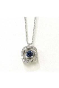 Gargantilha em ouro branco 18k com safira e diamantes Brüner 6c8f888317