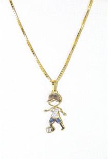Pingente Menino em Ouro 18k com Zircônias Azuis e Brancas - Greengold